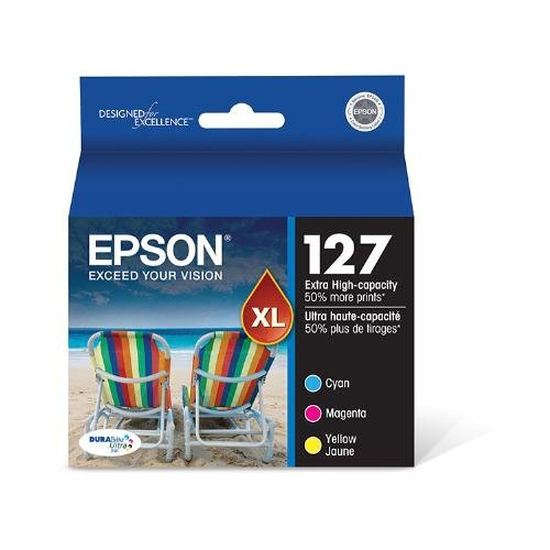 Epson T127520 OEM Ink - (127) Stylus NX530 625 Workforce 60 545 630 633 635 645 840 845 3520 7010 7510 Extra High Capacity Color Ink Combo Pack (Includes 1 Each of OEM# T127220 T127320 T127420) (3 x 755 Yield) OEM
