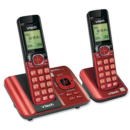 (VTech CS6529-26 DECT 6.0 Phone Answering System with Caller ID/Call Waiting, 2 Cordless Handsets, Red)