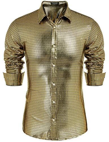 COOFANDY Men's Disco Shirt Silver Sequin Fashion Nightclub Party Shirt Christmas ()