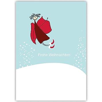 Weihnachtsgrüße Privat.20er Set Witzige Weihnachtskarten Mit Engel Im Schnee Gestöber
