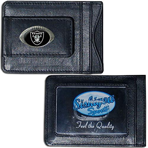 NFL Oakland Raiders Credit Card Holder 4', Leather Money Clip Sports American Football Themed Fan Merchandise Raiders Team Logo Spirit Magnetic Black