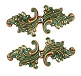 Bezelry Asymmetric Acanthus Leaf Hook and Eye Cloak Clasp Sew On Fasteners Pack of 4 Pairs 66mm x 28mm