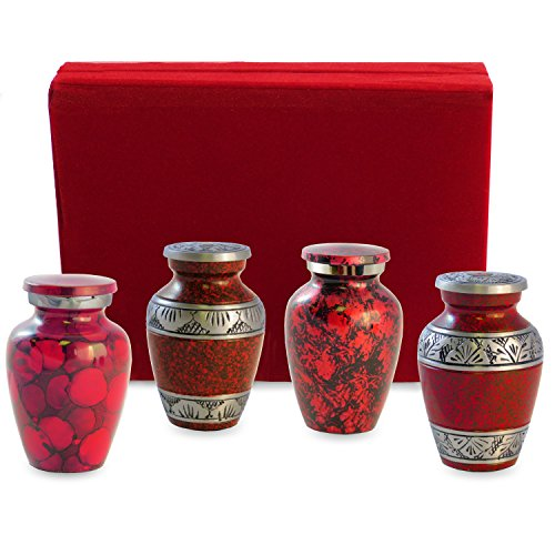 Celebration of Life Red Small Mini Keepsake Urns For Human Ashes - Set of 4 -Share Your Special Love With These Comforting Quality Keepsake Urns - A Tribute To Your Loved One - Includes Velvet Case by Trupoint Memorials