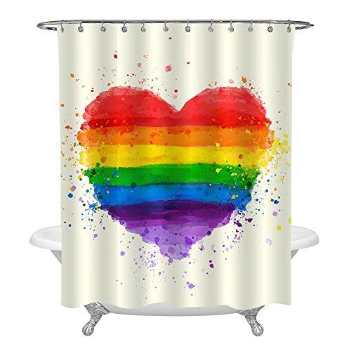 MitoVilla LGBT Pride Rainbow Love Heart Shower Curtain Set, Waterproof Mildew Resistant Polyester Fabric Bathroom Decor With Hooks - 72