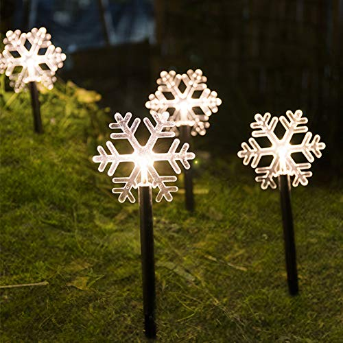 LIKO HOME 5 LED Snowflake Solar Light Outdoor Garden Romantic Dreamlike Xmas Holiday Home Garden Decoration(Warm White Snowflake)
