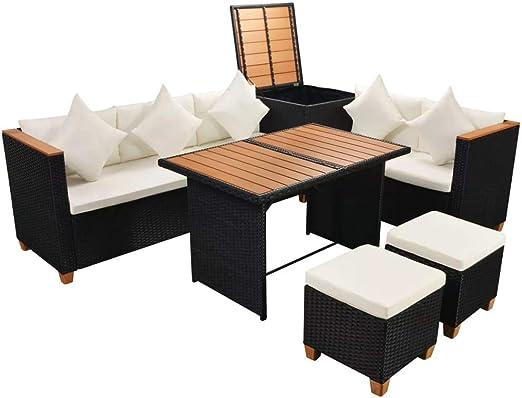 Xinglieu Set Muebles de Exterior de 22 Piezas en polirratán y WPC Negro Juego de sillas y Mesa de jardín Mesa y sillas de jardín: Amazon.es: Jardín
