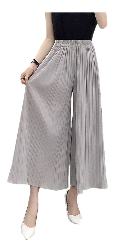 ARJOSA Women's Pleated Palazzo Pants 3/4 Wide Leg Straight Cropped Trousers (M, Grey)