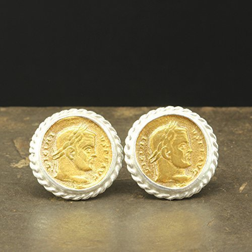 (925 Solid Sterling Silver Coin Stud Earrings 24K Yellow Gold Vermeil Handcrafted Artisan Ancient Roman Greek Art Two Tone Earrings)