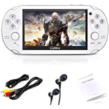"""Loyalfire Handheld Game Console, Game Player 4.3"""" 64-bit LED Lights 4GB System Portable Video Games, Supports Multiple File Formats Birthday Presents Kids Children (White)"""