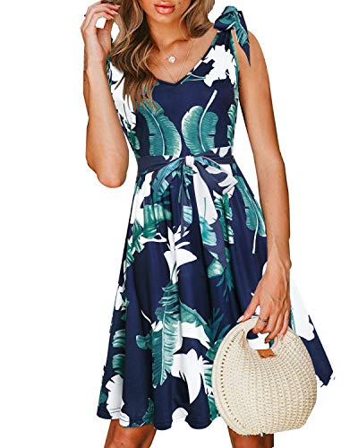 VOTEPRETTY Women's Casual Summer Beach Sleeveless V Neck Tie Floral Dress with Pockets (Floral01,S