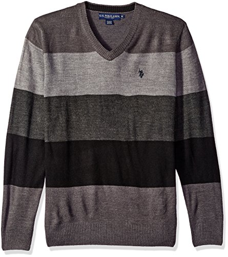 U.S. Polo Assn. Men's Vee Neck Stripe Acrylic, Granite Heather, Medium