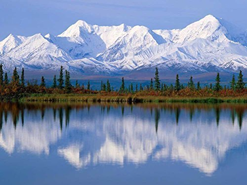 Alaska Wall - Mountain Lake, Alaska - Oil Painting On Canvas Modern Wall Art Pictures For Home Decoration Wooden Framed (20X28 Inch, Framed)