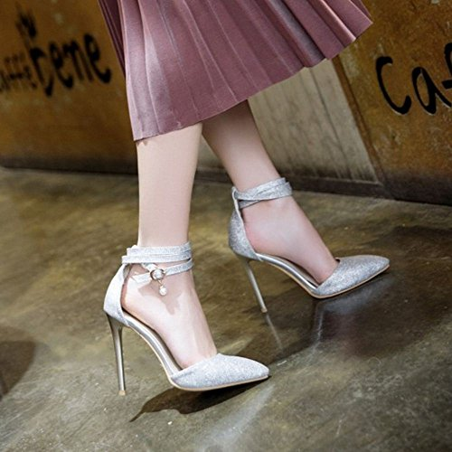 Mode Silver TAOFFEN Sandals Femmes Size Over Party Stiletto 9 6RKxw1fq