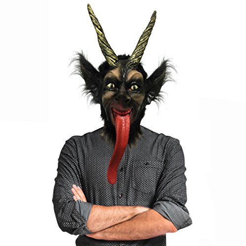 Off the Wall Toys Holiday Christmas Krampus Mask Black, Gold ()
