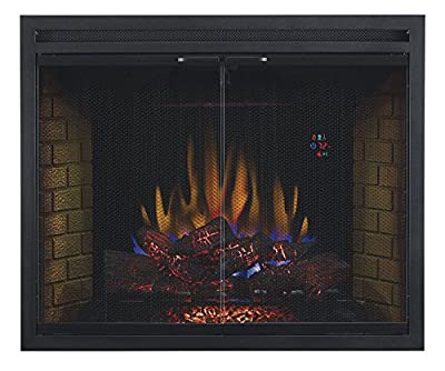 "ClassicFlame 39EB500GRS 39"" Traditional Built-in Electric Fireplace Insert with Glass Door and Mesh Screen, Dual Voltage Option"