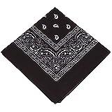 Pack & Set Unisex Cotton Paisley XL Bandana 27 Inches - 4 Pcs (Black)