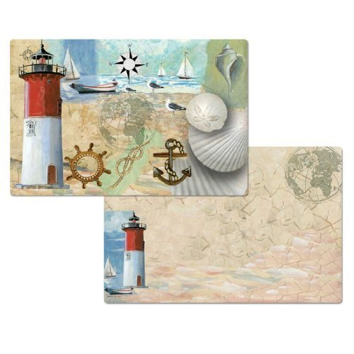(4 Racepoint Lighthouse Placemats, Reversible Washable Plastic)