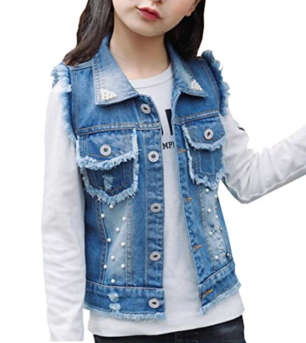 MYtodo Girls Denim Vest Pearl Burr Childs Short Vest Jacket (12-13 Years)