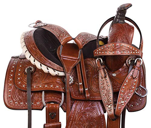 "- AceRugs Premium Western Leather Youth Kids SEAT Roping Ranch Work Horse Pony Saddle TACK Set 10"" 12"" 13"" (13)"