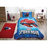 LaModaHome Animation Bedding Set, 50% Cotton 50% Polyester - Marvel Spider-Man, White Webs on Blue, Swing, Hero - Set of 2-100% Fiber Filling Bedspread and Pillowcase for Twin and Single Bed