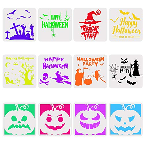 Halloween Carving Letters (URATOT 12 Pieces Halloween Plastic Painting Stencils Decor Stencils Reusable Halloween Pumpkin Templates Craft for Cards DIY Card Art Drawing Painting)