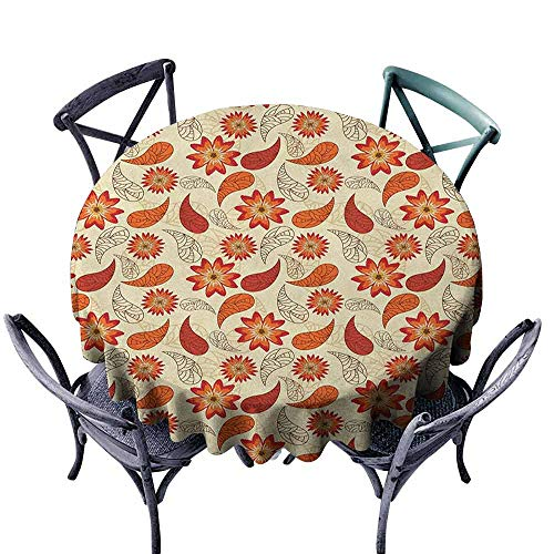 ScottDecor Decorative Round Tablecloth Jacquard Tablecloth Orange,Red Poppy Flowers in Retro Style and Leaves Artistic Flourish Paisley Pattern, Orange Red Peach Diameter 36