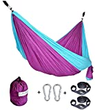 CUTEQUEEN TRADING Double Nest Ultralight Portable Outfitters Parachute Nylon Fabric Hammock For Travel Camping,Backpacking,Kayaking,Color: Purple/Sky blue