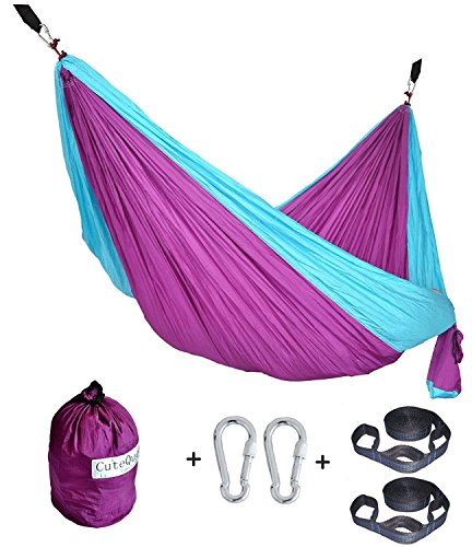 Cutequeen TRADING Parachute Nylon Fabric Hammock With Tree straps;Color: Purple/Sky blue by Cutequeen