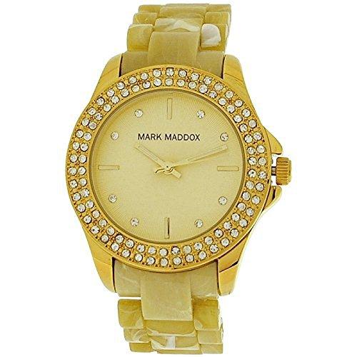 Mark Maddox Ladies Rhinestone Set Bezel Goldtone Dial Bracelet Watch MP3015-20