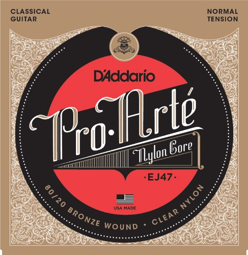 D'Addario EJ47 80/20 Bronze Pro-Arte Nylon Classical Guitar Strings, Normal (Acoustic Classical String Basses)