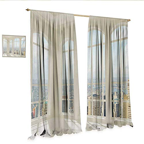 Modern Drapes for Living Room Big White Contemporary Apartment Flat Overlooking The City Urban View Print Window Curtain Drape W108 x L96 White Baby Blue.jpg