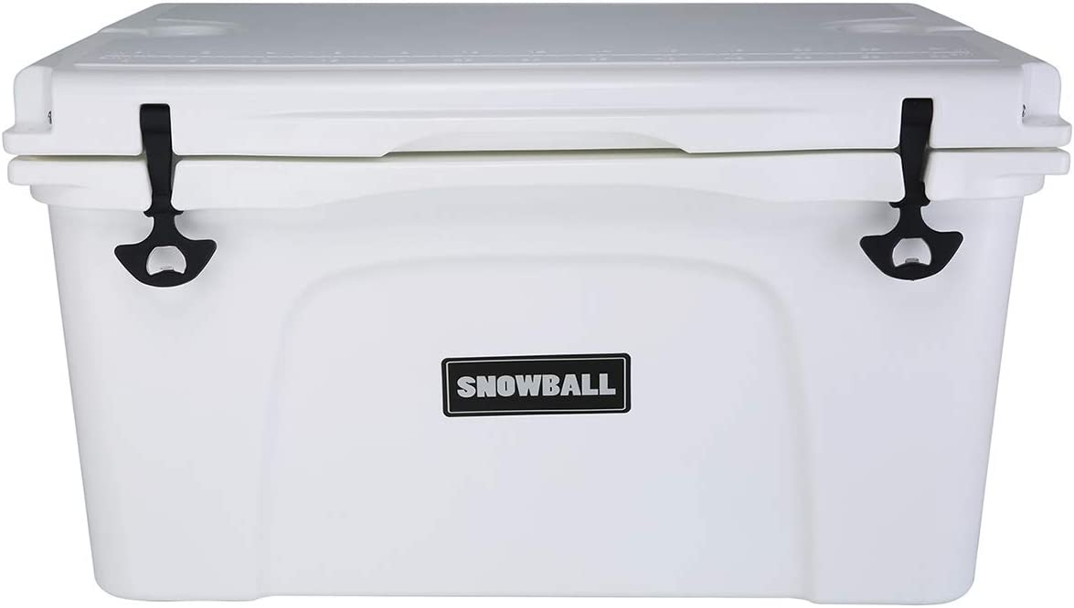 Snowball Coolers, Rotomolded Insulation Ice Chest for Camping, Fishing, Hunting, BBQs Outdoor Activities, White, 69QT 65L