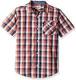 Lucky Brand Little Boys' Short Sleeve Plaid Shirt, Plaid Holly Red, 6