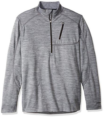 (Terramar Men's Thermawool Merino Wool Half Zip Pullover Jacket, Light Heather Grey, Large (42