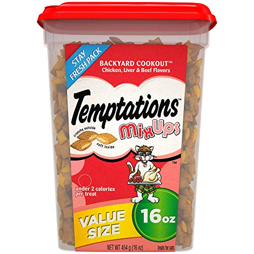 TEMPTATIONS MixUps Treats for Cats BACKYARD COOKOUT Flavor, 16 oz. Tub