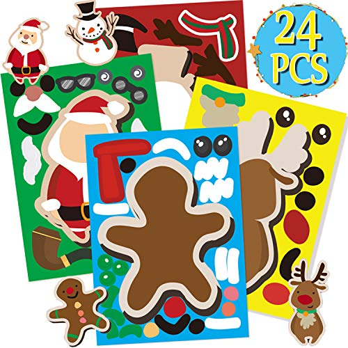 Funnlot 24 PCS Christmas Stickers for Kids Make A Christmas Stickers Snowman Stickers Santa Stickers Gingerbread Stickers Reindeer Stickers Xmas DIY Crafts Christmas Party Games for Kids (Xmas Easy Craft)