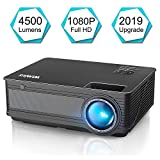 Projector, WiMiUS P18 Upgraded 4500 Lumens LED Movie Projector Support 1080P Full HD 200' Display Compatible with Amazon Fire TV Stick Laptop iPhone Android Phone Xbox PS4 Via HDMI USB VGA AV Black