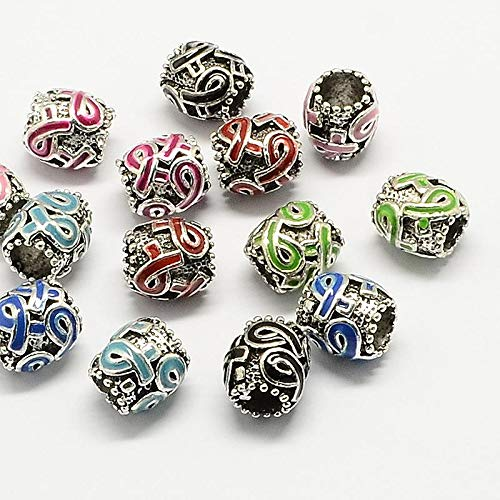 Calvas Alloy Awareness Ribbon Enamel European Beads, Drum Large Hole Beads, Antique Silver, Mixed Random Color, 11.5x11mm, Hole: 5~6mm