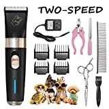 Pet Grooming Clippers - FOCUSPET 2 level speed adjustable Rechargeable Cordless Dog Grooming Clippers Kit Low Noise Electric Hair Trimming Clippers Set Small Medium Large Dogs Cats Animals Black