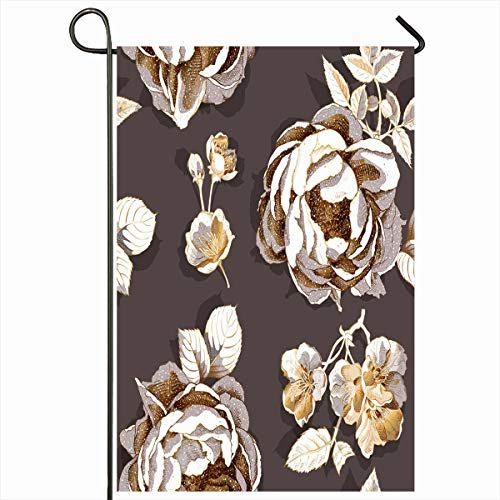 (Ahawoso Outdoor Garden Flag 12x18 Inches Luxury Rose Golden Gold Peony Cherry Flowers Pattern White Nature Line Botany Home Decor Seasonal Double Sides House Yard Sign Banner)