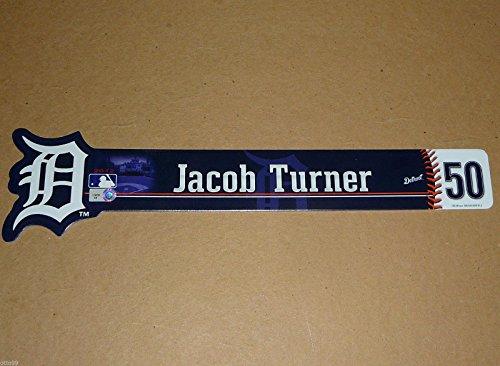 JACOB TURNER #50 GAME USED DETROIT TIGERS LOCKER ROOM NAME PLATE SIGN MARLINS