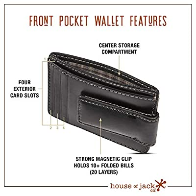 HOJ Co. CARRYALL Mens Leather Money Clip Wallet-Strong Magnetic Front Pocket Wallet-Exterior ID Window