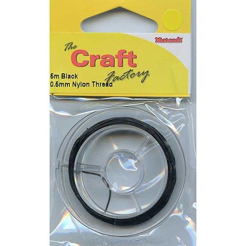 Craft Factory CF01/55006 | Black Nylon Thread | 0.5mm x 5m The Craft Factory
