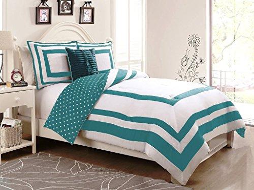 Geneva Home Fashion 4-Piece Hotel Juvenile Reversible Polka Dot Comforter Set, Full, Turquoise