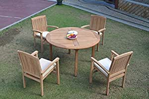 "WholesaleTeakFurniture Grade-A Teak Wood 4 Seater 5 Pc Dining Set: 52"" Round Table 4 Wave Stacking Arm Chairs #WFDSWV18"