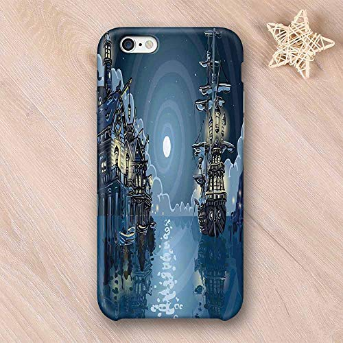 Pirate Printing Compatible with iPhone Case,Fantasy Adventure Island Faery Mystery Ships Pirate Cove Bay Swirled Moon Rays Decorative Compatible with iPhone 6 Plus / 6s Plus,iPhone 6/6s