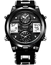DUNTAI Mens Watches, Waterproof Sport PU Mulit-Time Zone Quartz LED Digital