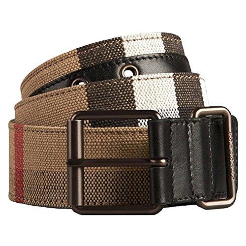 Burberry Men's Beige Leather Canvas Check Cory Plaid Logo Buckle Belt (95) - Logo Canvas Belt