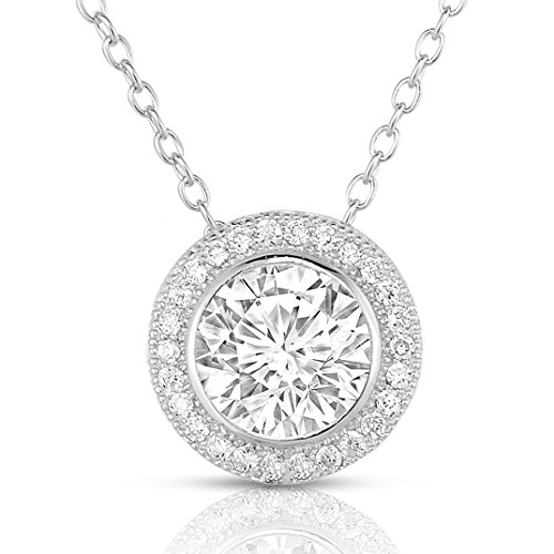 Sterling Silver Round Cubic Zirconia Halo Pendant Necklace