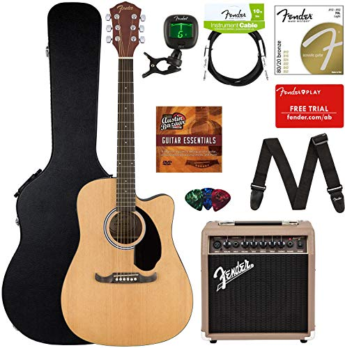 buy fender fa 125ce acoustic electric guitar bundle with acoustasonic amp case cable strap. Black Bedroom Furniture Sets. Home Design Ideas